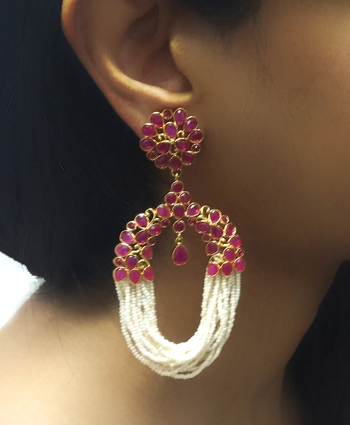 Samarpreet Ruby and Pearl Tassle Earrings